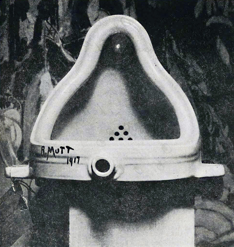 Fountain, attributed to Marcel Duchamp and photographed by Alfred Stieglitz. Image via Wikimedia Commons.